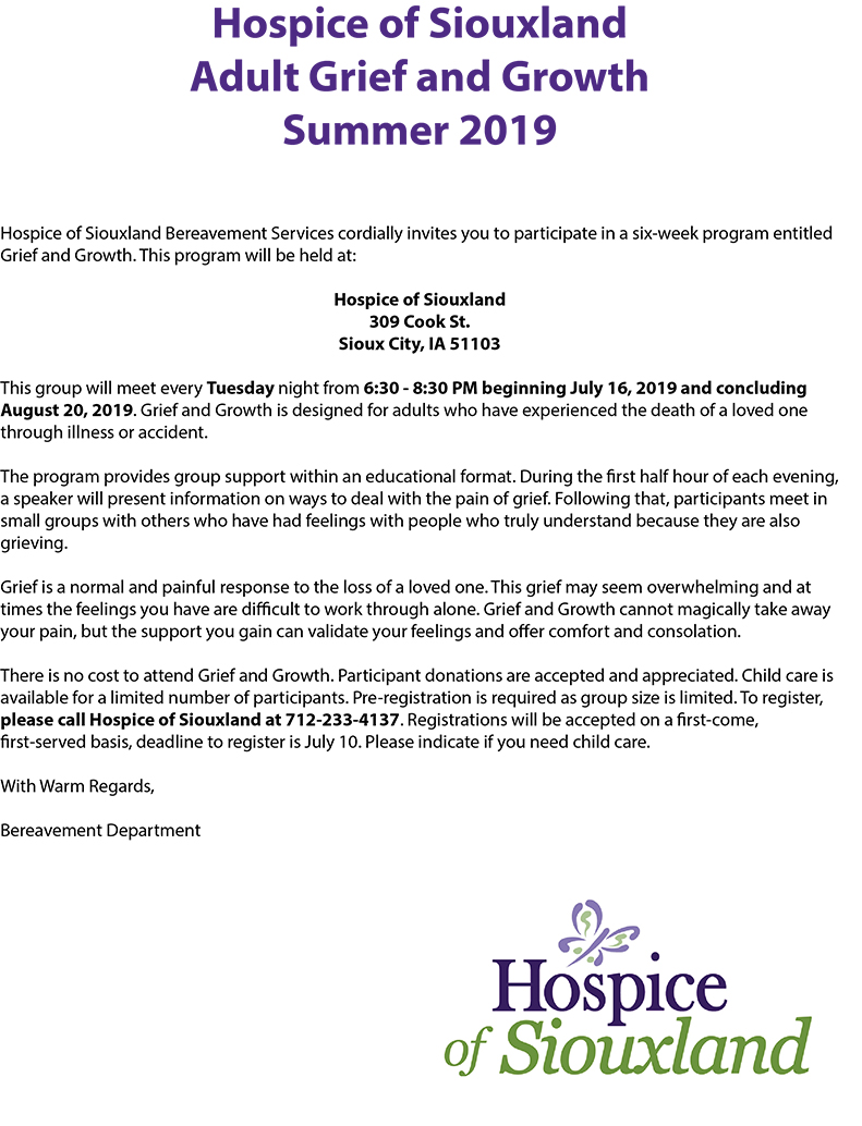 Volunteer information for Summer 2019 Adult Grief and Growth